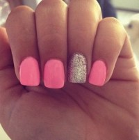 neon pink nails on Tumblr