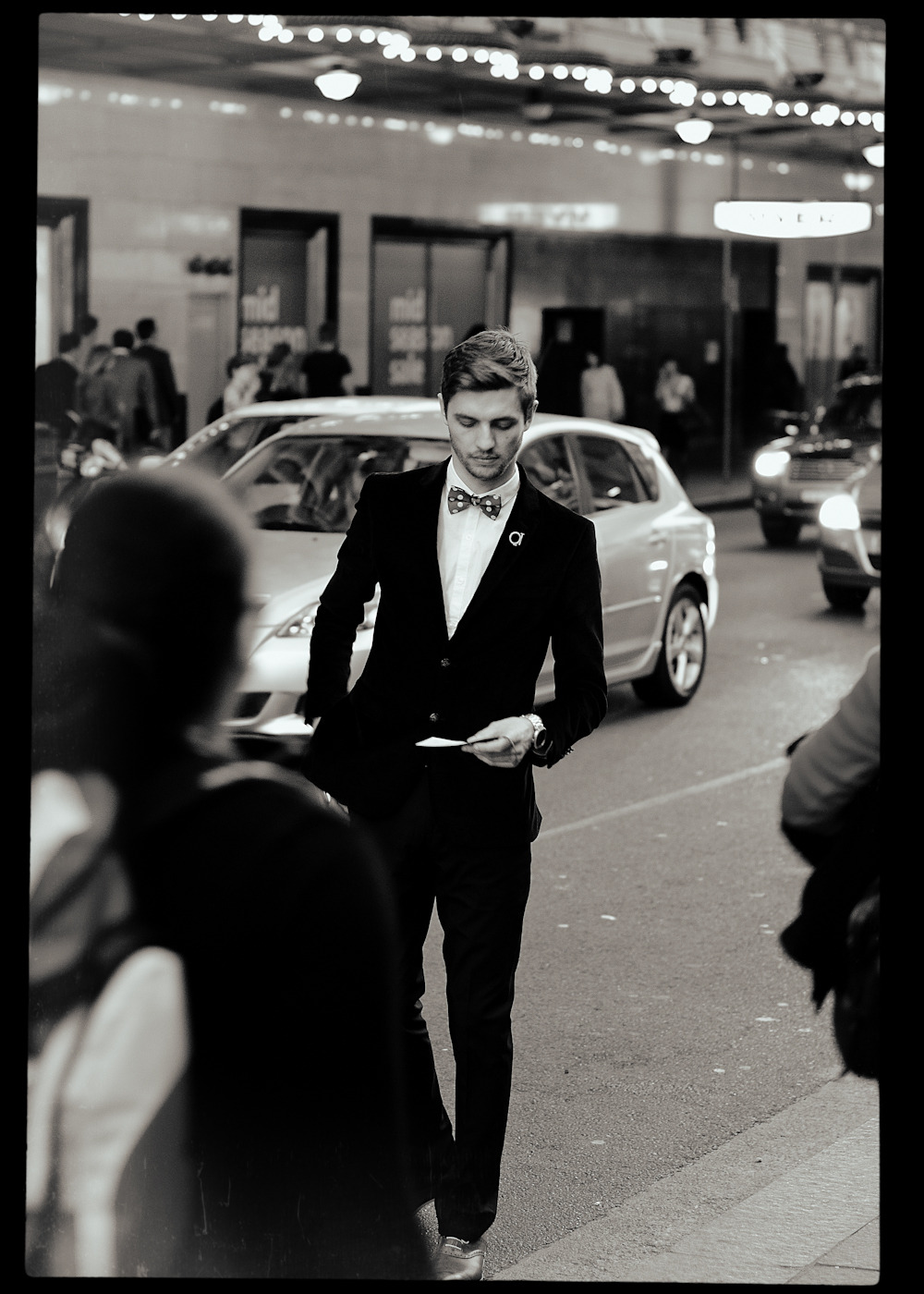 Outside the QT Hotel in Sydney.Similar look: Polka Dot Self Tie Bow Tie by Brent Morgan.