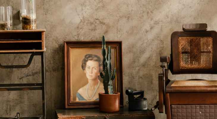 photo of cactus in front of a woman s portrait painting