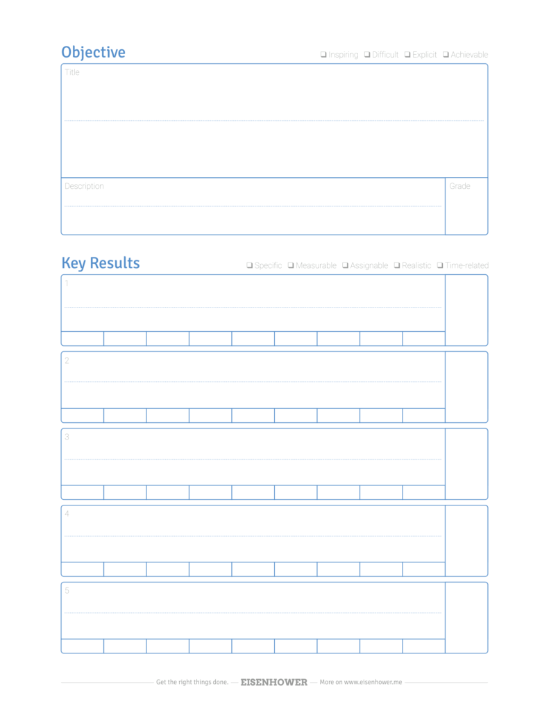 You can use those templates directly, however, try to customize or create your own goals worksheet if possible. Free Okr Template Pdf Objective Key Result Quality Check