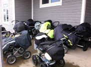 the fancy strollers outside the barnehage. The babies take their naps right there while a teacher sits just inside the door checking on them periodically.