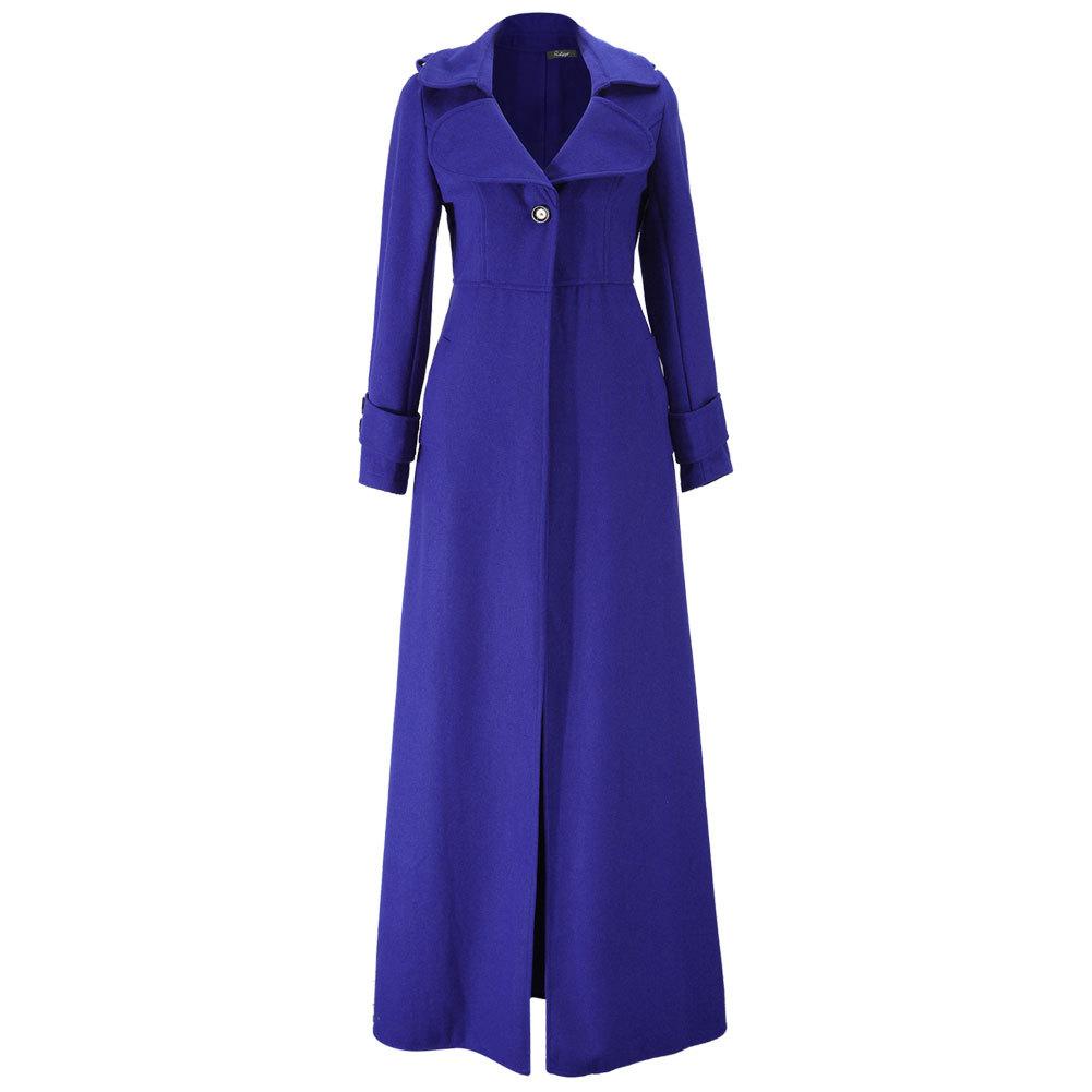 Floor Length Royal Blue Coat Women Jackets Cashmere Blend