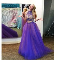 Purple Tulle High Neck Beaded Top Two Piece Prom Dress ...