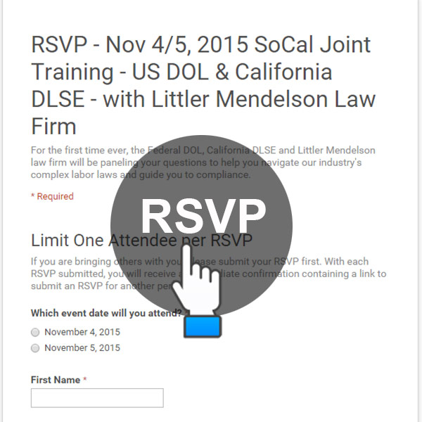 RSVP Nov 4/5 SoCal – Federal and California Labor Joint Training with Littler Law Firm