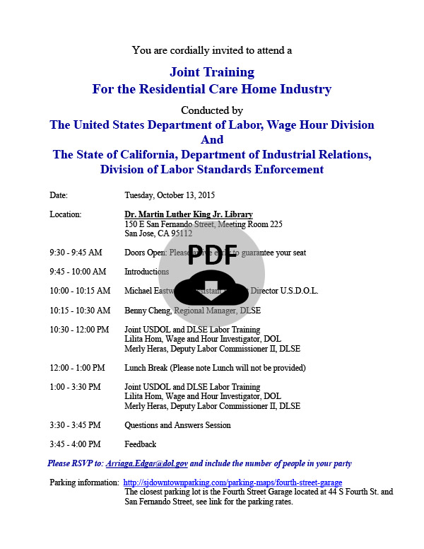 Oct 13, 2015 Joint Training - US Department of Labor (DOL) & California Division of Labor Standards Enforcement (DLSE)
