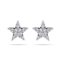 9ct White Gold 0.15ct Diamond Star Stud Earrings ...