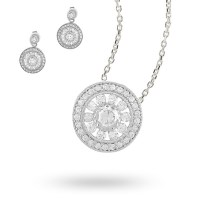 Sterling Silver Cubic Zirconia Antique Style Necklace and ...