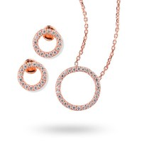 Rose Gold Plated Cubic Zirconia Open Circle Necklace and ...