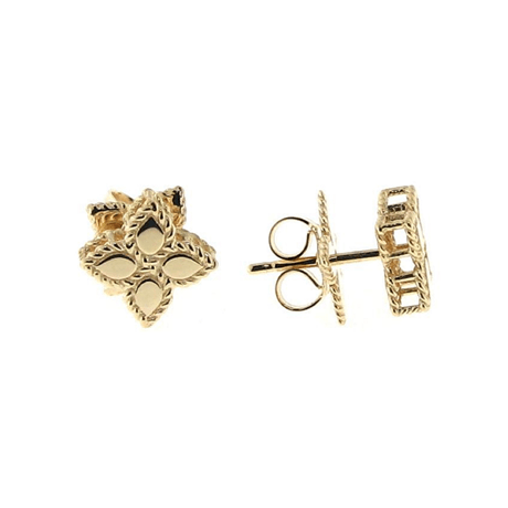 Roberto Coin Princess Flower 18ct Yellow Gold Stud