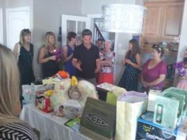 Garret...showing up and being extremely overwhelmed with all the presents. He made a lovely speech thanking everyone--I am so glad he was able to come for a bit at the end! (someone had to load the car)