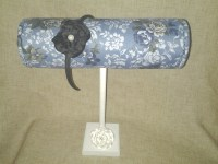 Boutique Headband Display Blue White Floral With Wood ...