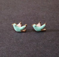 Birds Stud Earrings Pink And Blue - Bird Earrings - Tiny ...