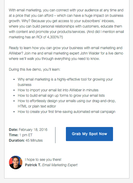 Call to action at bottom of email