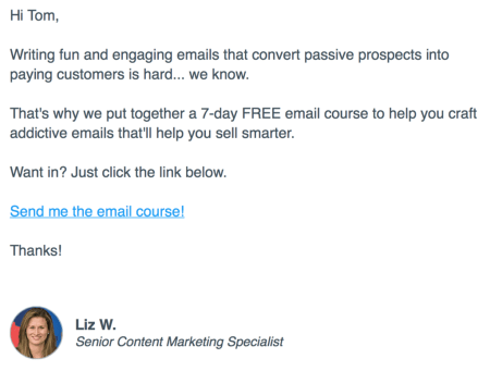 This is an example of an email that could include one-click segmentation.