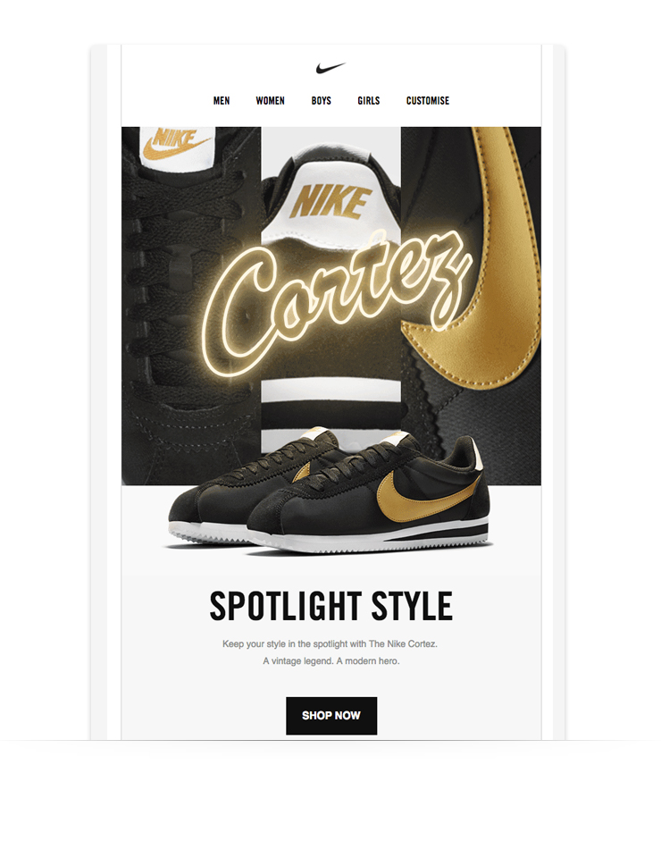strong visual newsletter example from Nike