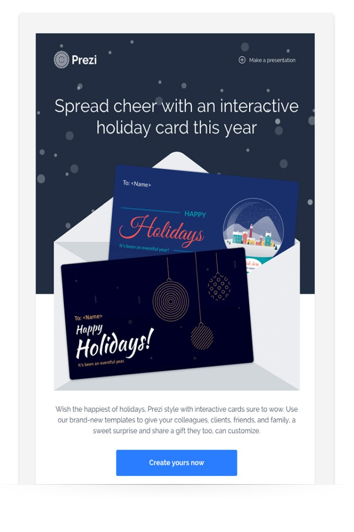 holiday email design example