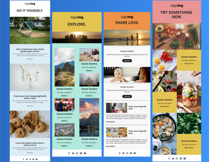 Welcome template with different options for bloggers