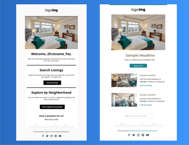 Two email template examples for Real Estate