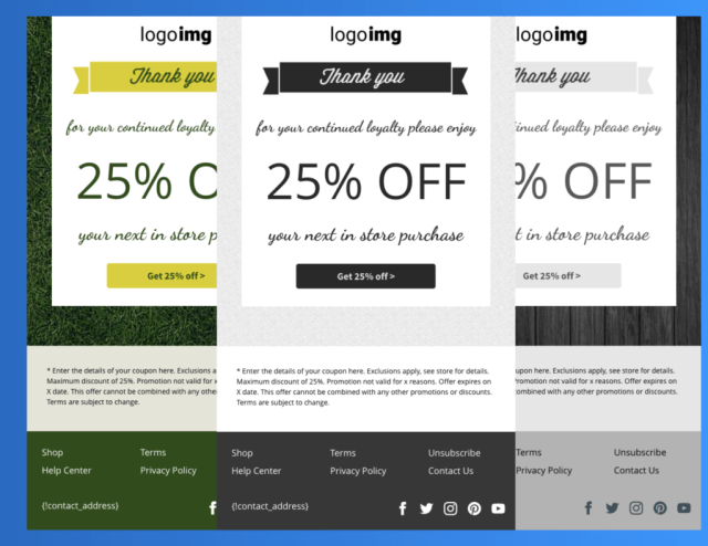 Example of a prebuilt AWeber email template with the coupon element.