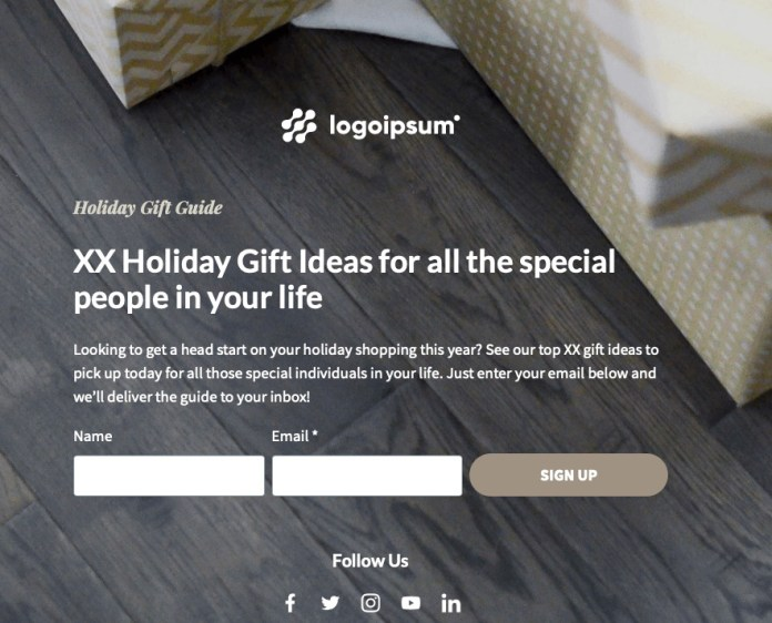 Gift Guide Landing Page