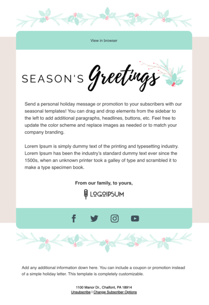 Holly Motif Season's Greetings email template