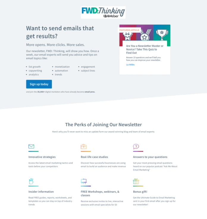 Landing page for lead capture example