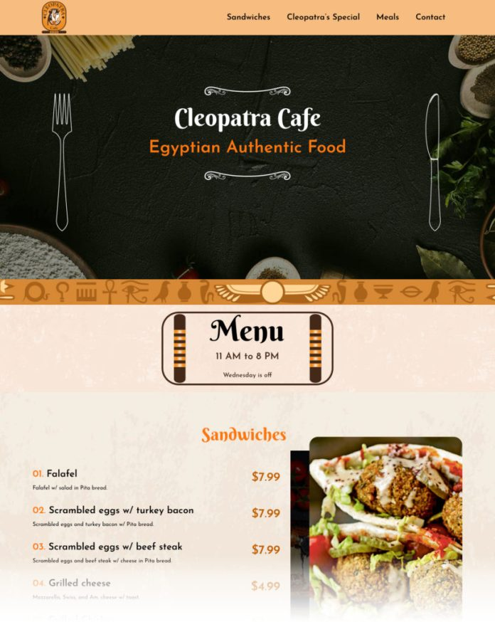Example of how a restaurant uses a landing page for their menu