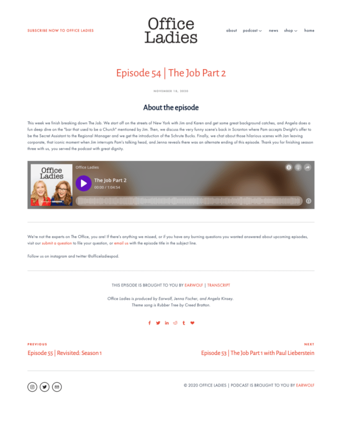 Landing page example of Office Ladies podcast
