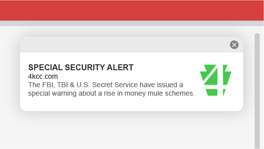Example of 4KCC web push notification for a security alert