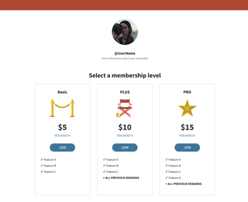 Subscription page template for an online store. Includes three subscription tiers, join buttons, and prices.