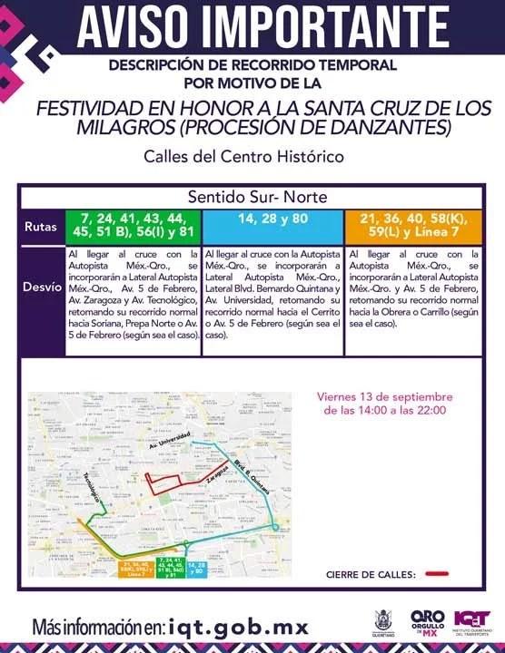 Desviarán rutas de transporte público temporalmente por Fiestas Patrias en Querétaro