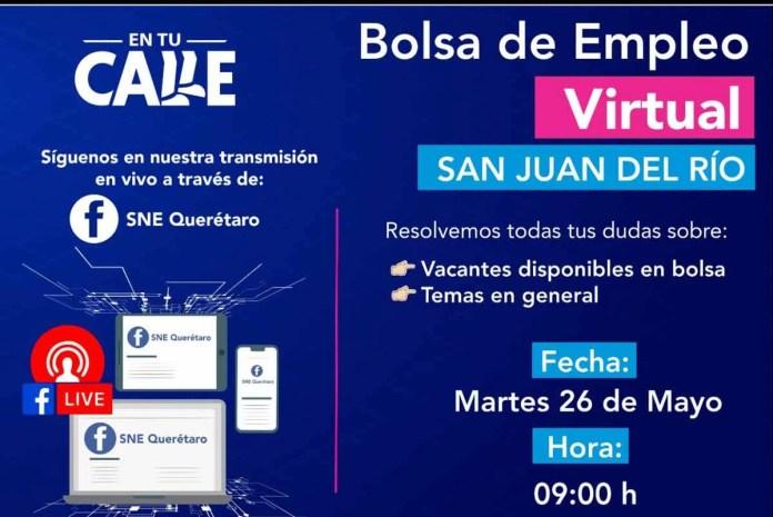 Ofertarán 150 plazas formales en Bolsa de Empleo Virtual en vivo para la región de San Juan del Río