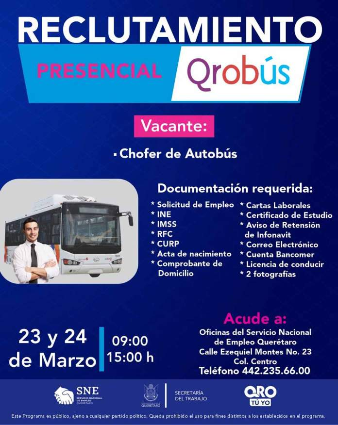 Reclutamiento presencial para operadores de autobus en Qrobus 23 y 24 de marzo