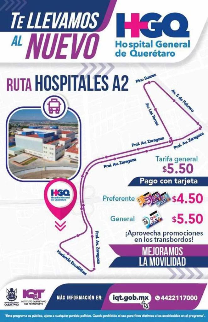 Abren nueva ruta hacia nuevo Hospital General de Querétaro y zona de hospitales centro poniente