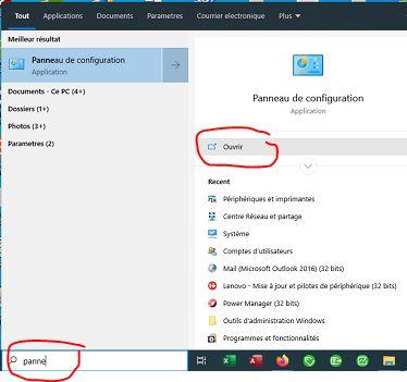 Ouvrir le panneau de configuration sous Windows 10