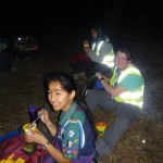 Night hikers having Noodles at Base 4