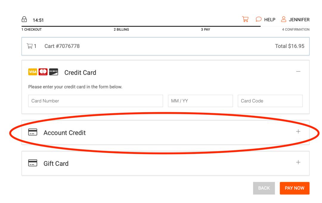 Account credit at checkout