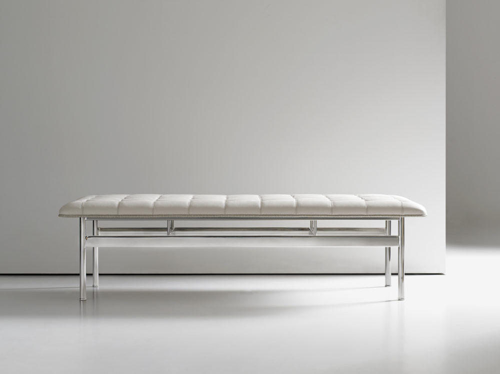 Chrome Modern White Leather Bench Ambience Dor 233