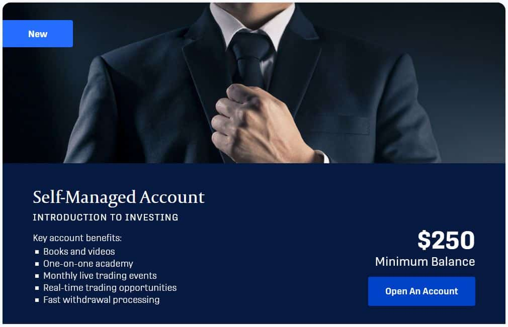FinancialCentre offers multiple different account types: self managed account