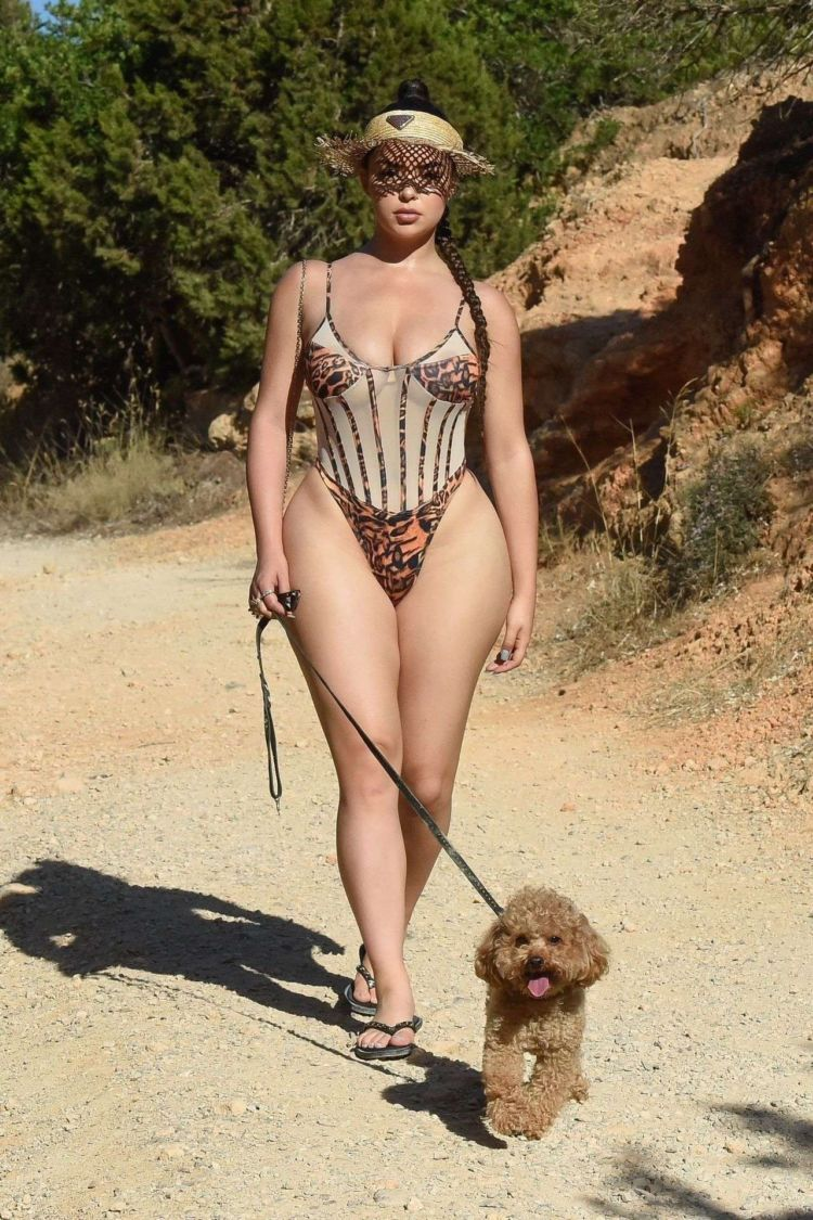 Demi Rose Mawby Walking Her Dog In A Swimsuit In Ibiza