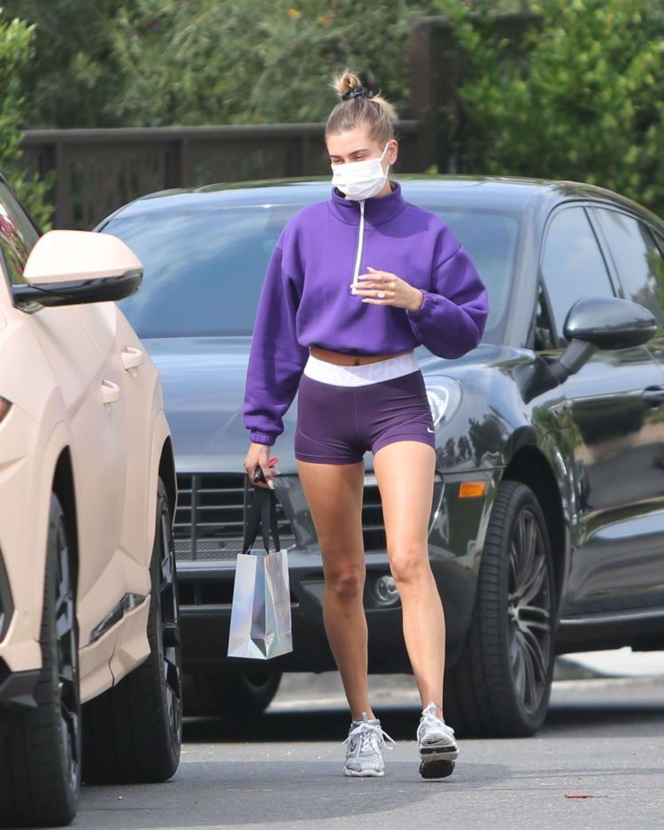 Hailey Baldwin Spotted In Shorts Outside A Friend's House In Beverly Hills