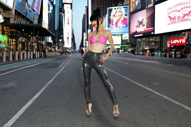 Bai Ling Poses For A Portrait At Times Square In New York City