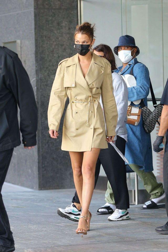 Bella Hadid In A Michael Kors Trench Coat Dress In New York
