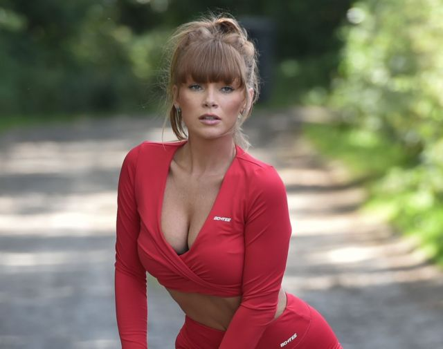 Gorgeous Summer Monteys-Fullam Jogging In A Red Outfit
