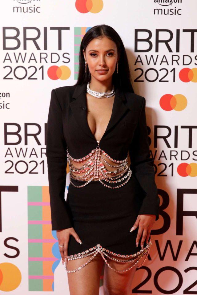 Maya Jama Poses At The BRIT Awards 2021 Red Carpet