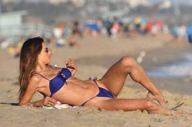 Alessandra Ambrosio In A Blue Bikini At The Beach In Malibu