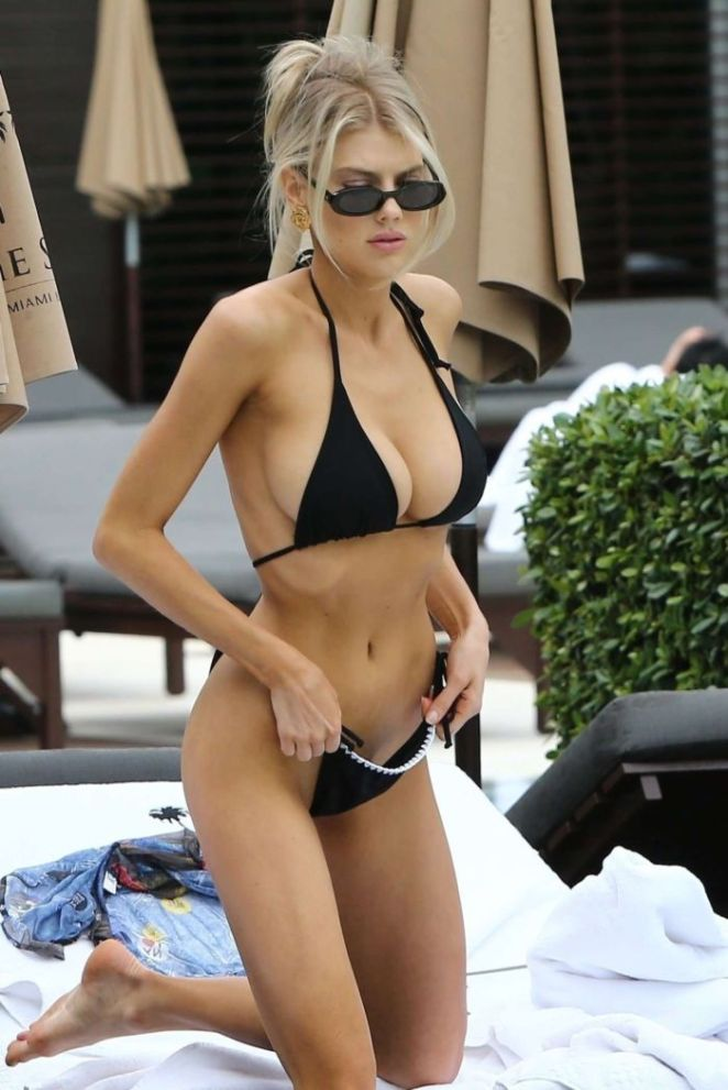 Charlotte McKinney In Black Bikini At A Swimming Pool In Miami