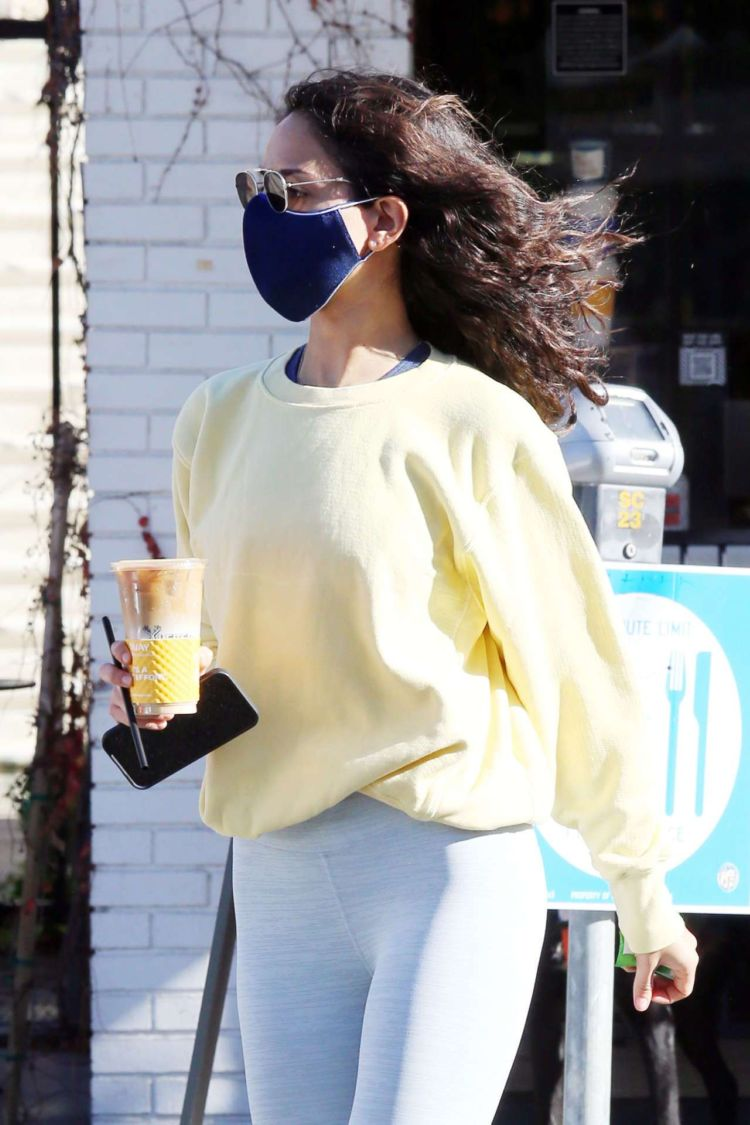 Eiza Gonzalez Candids In White Tights Outside Alfred's In West Hollywood