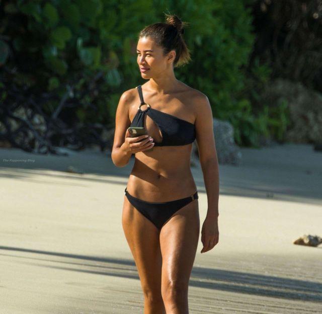 Montana Brown In Black Bikini On Golden Sandy Beaches Of St James Parish In Barbados