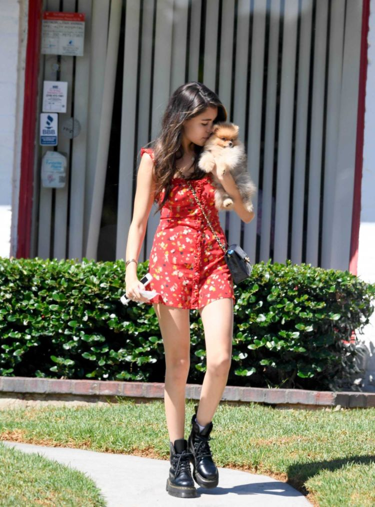 Cute Madison Beer Takes Her Dog For A Walk